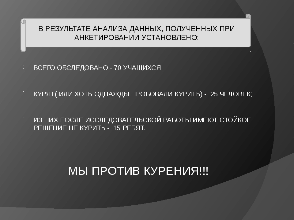 ВСЕГО ОБСЛЕДОВАНО - 70 УЧАЩИХСЯ; КУРЯТ( ИЛИ ХОТЬ ОДНАЖДЫ ПРОБОВАЛИ КУРИТЬ) -...