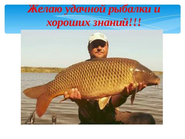 Желаю удачной рыбалки и хороших знаний!!!
