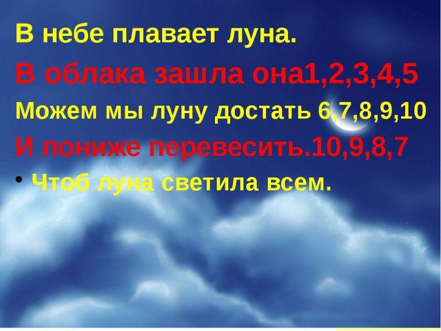 В небе плавает луна. В облака зашла она1,2,3,4,5 Можем мы луну достать 6,7,8,...