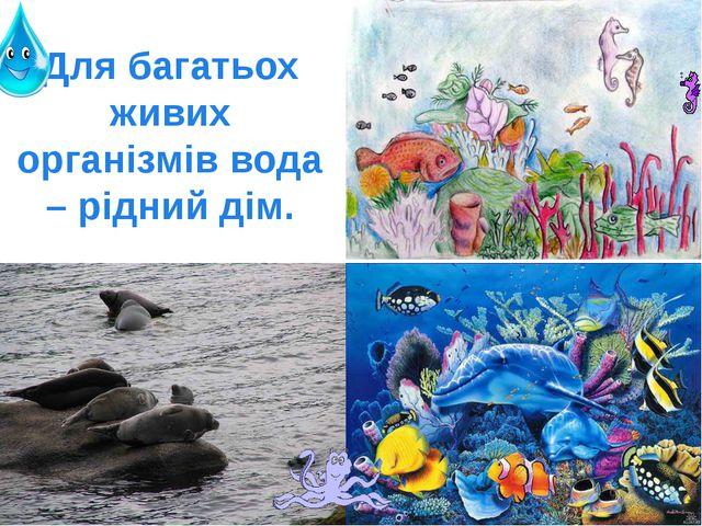 Для багатьох живих організмів вода – рідний дім.