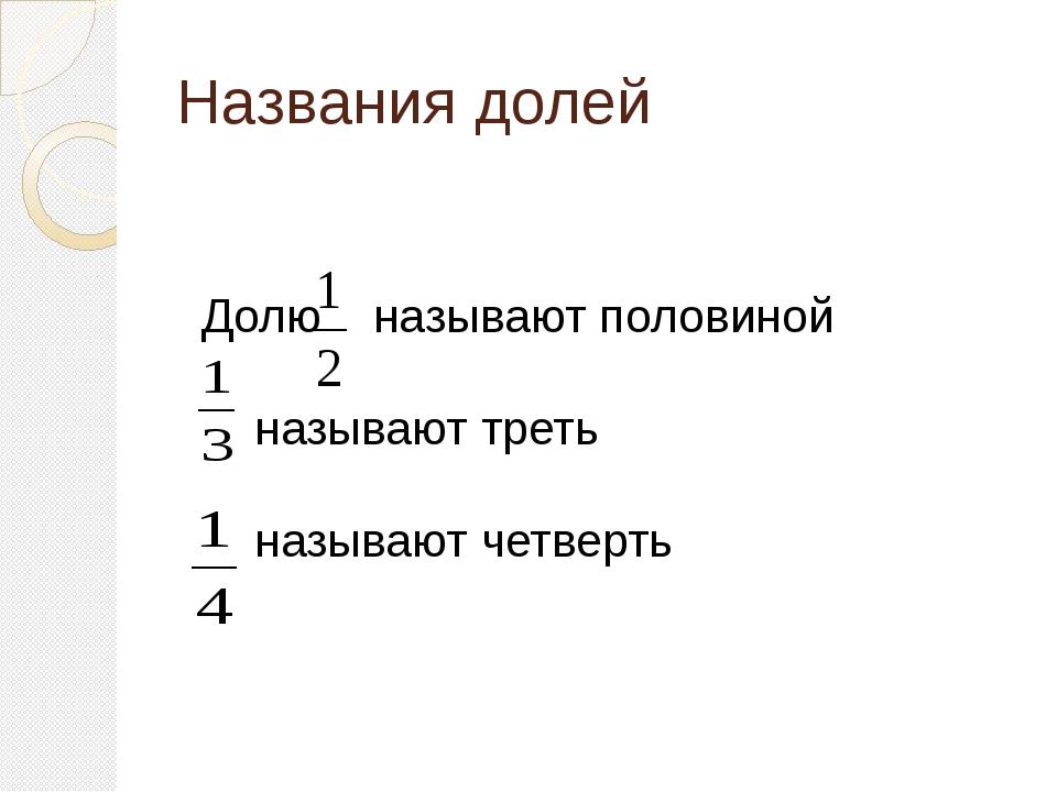 Названия долей Долю называют половиной называют треть называют четверть
