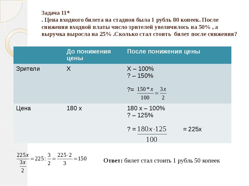 Задача 11* . Цена входного билета на стадион была 1 рубль 80 копеек. После сн...