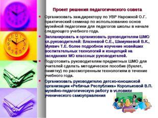 Проект решения педагогического совета Организовать зам.директору по УВР Нарож