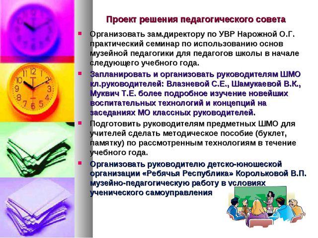 Проект решения педагогического совета Организовать зам.директору по УВР Нарож...