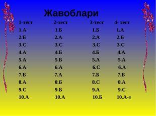 Жавоблари 1-тест 2-тест 3-тест 4- тест 1.А 1.Б 1.Б 1.А 2.Б 2.А 2.А 2.Б 3.С 3.