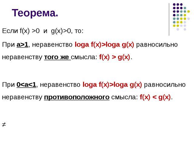 Теорема. Если f(x) >0 и g(x)>0, то: При а>1, неравенство logа f(x)>logа g(x)...