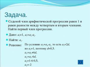 Задача. Седьмой член арифметической прогрессии равен 1 и равен разности между