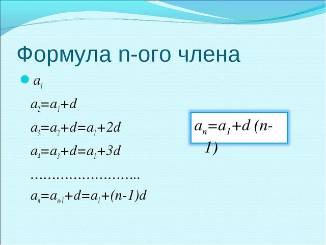 Формула n-ого члена a1 a2=a1+d a3=a2+d=a1+2d a4=a3+d=a1+3d …………………….. an=an-1...