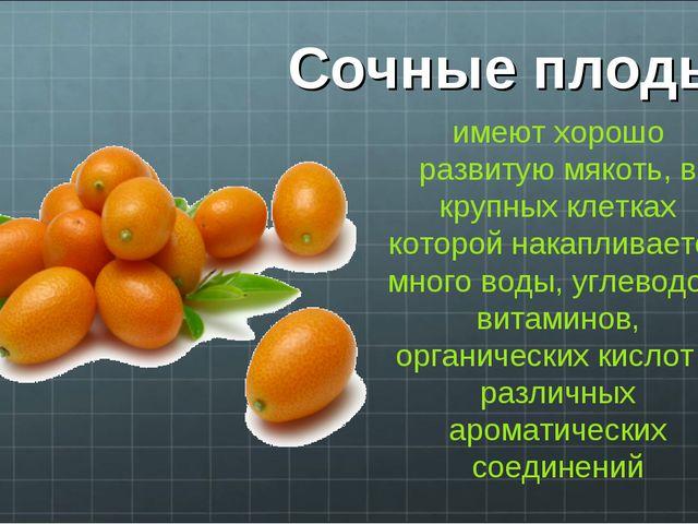 Сочные плоды имеют хорошо развитую мякоть, в крупных клетках которой накаплив...