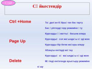 Ctrl +Home Page Up Delete CapsLock Esc Insert Enter Ctrl+Back Space Таңдалған
