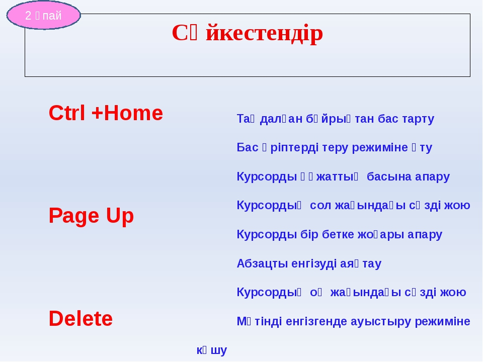 Ctrl +Home Page Up Delete CapsLock Esc Insert Enter Ctrl+Back Space Таңдалған...
