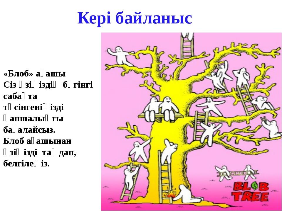 Кері байланыс «Блоб» ағашы Сіз өзіңіздің бүгінгі сабақта түсінгеніңізді қанша...