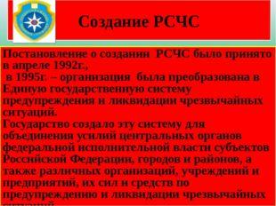 Создание РСЧС Постановление о создании РСЧС было принято в апреле 1992г., в 1