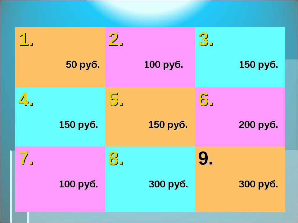 1. 50 руб.2. 100 руб.3. 150 руб. 4. 150 руб.5. 150 руб.6. 200 руб. 7. 100...