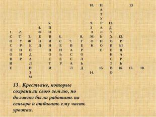 13 . Крестьяне, которые сохранили свою землю, но должны были работать на сень
