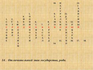 14 . Отличительный знак государства, рода. 10.Н13. А