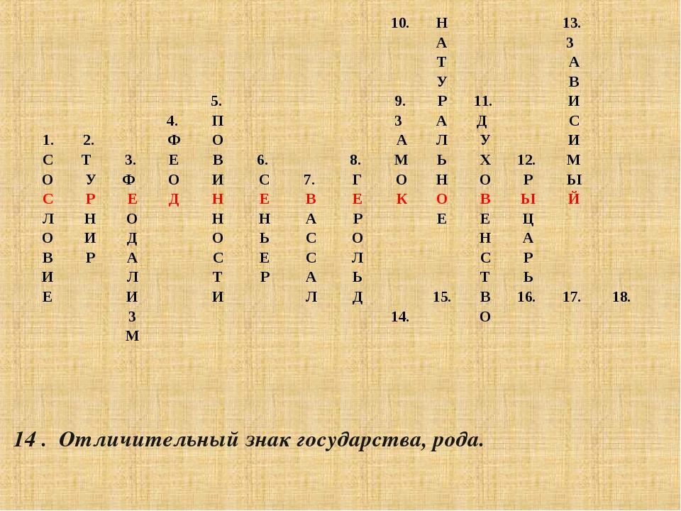 14 . Отличительный знак государства, рода. 10.Н13. А...