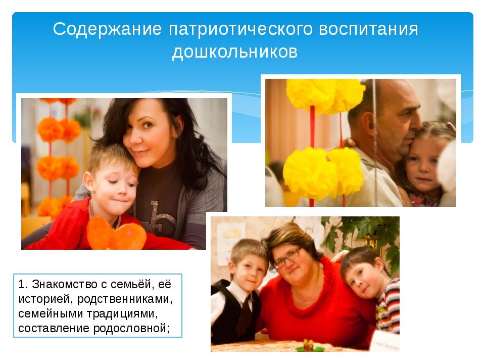 знакомство с семьёй, её историей, родственниками, семейными традициями, соста...