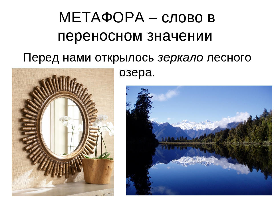 МЕТАФОРА – слово в переносном значении Перед нами открылось зеркало лесного о...