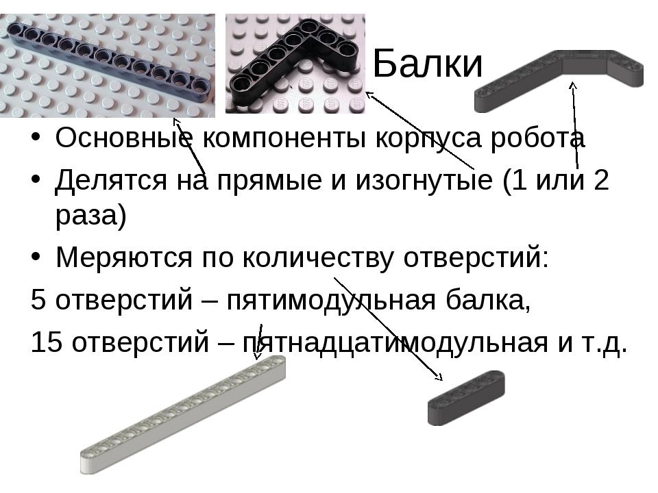 Балки Основные компоненты корпуса робота Делятся на прямые и изогнутые (1...
