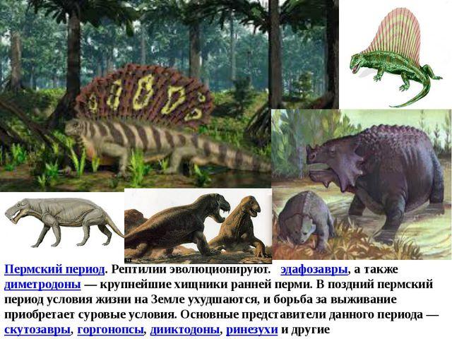 Пермский период. Рептилии эволюционируют. эдафозавры, а такжедиметродоны—...