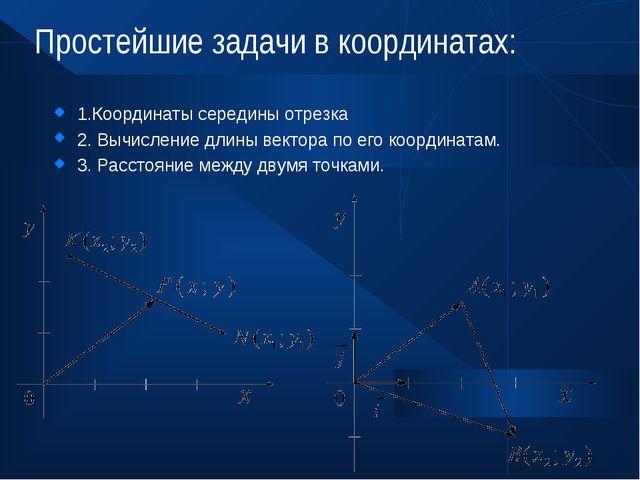 Простейшие задачи в координатах: 1.Координаты середины отрезка 2. Вычисление...