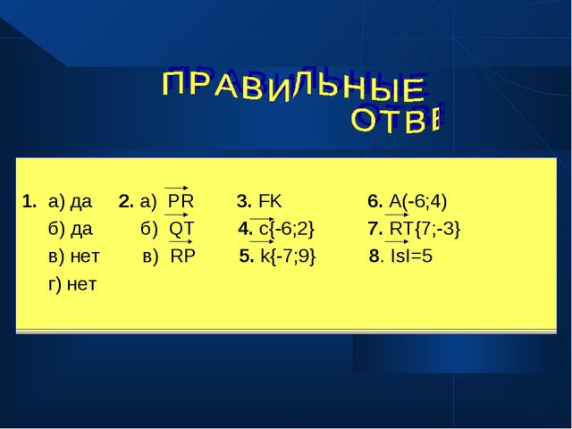 1. а) да 2. а) PR 3. FK 6. A(-6;4) б) да б) QT 4. c{-6;2} 7. RT{7;-3} в) нет...
