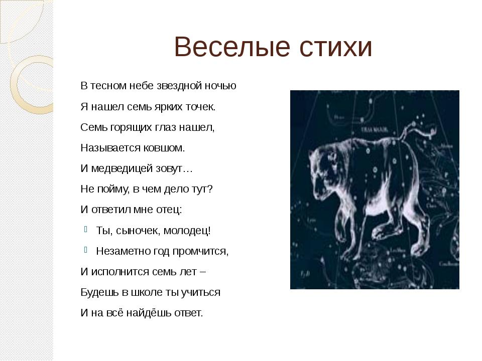 Веселые стихи В тесном небе звездной ночью Я нашел семь ярких точек. Семь гор...
