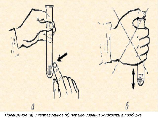 Правильное (а) и неправильное (б) перемешивание жидкости в пробирке
