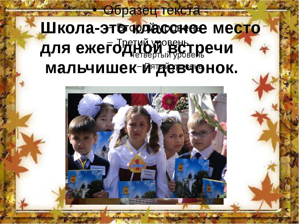 Школа-это классное место для ежегодной встречи мальчишек и девчонок.