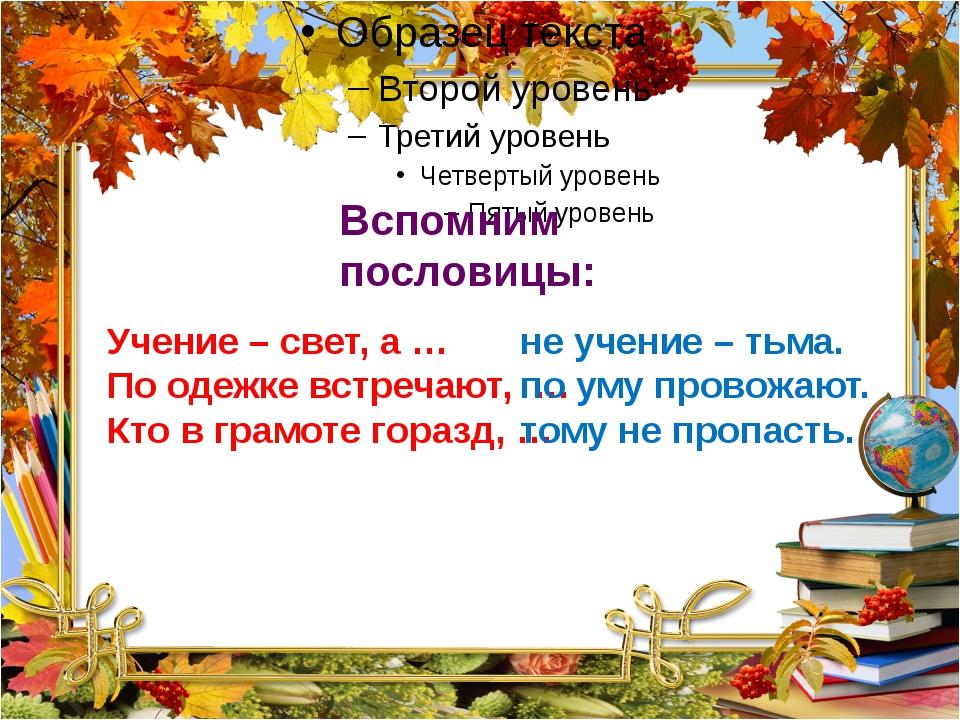 Учение – свет, а … По одежке встречают, … Кто в грамоте горазд, … не учение...