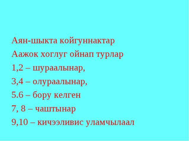Аян-шыкта койгуннактар Аажок хоглуг ойнап турлар 1,2 – шураалынар, 3,4 – олур...