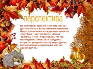 По окончании проекта «Золотая Осень» деятельность в выбранном направлении буд