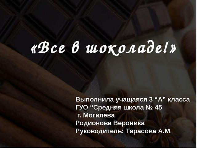 """«Все в шоколаде!» Выполнила учащаяся 3 """"А"""" класса ГУО """"Средняя школа № 45 г...."""