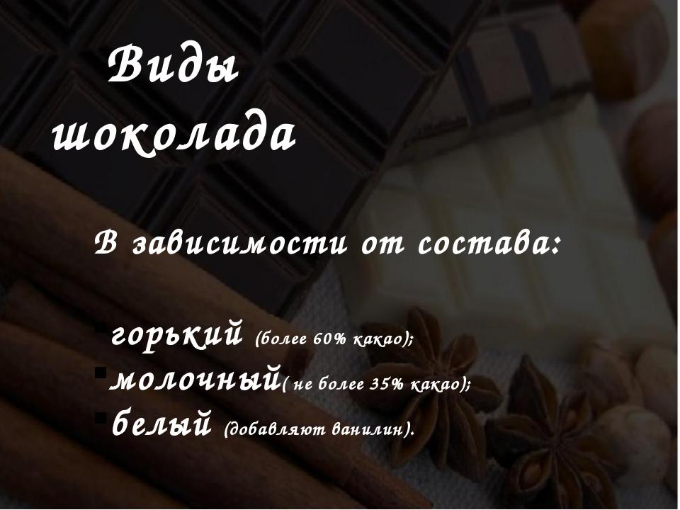 Виды шоколада В зависимости от состава: горький (более 60% какао);  молочный...