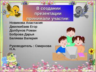 В создании презентации принимали участие: Новикова Анастасия Джилкибаев Егор