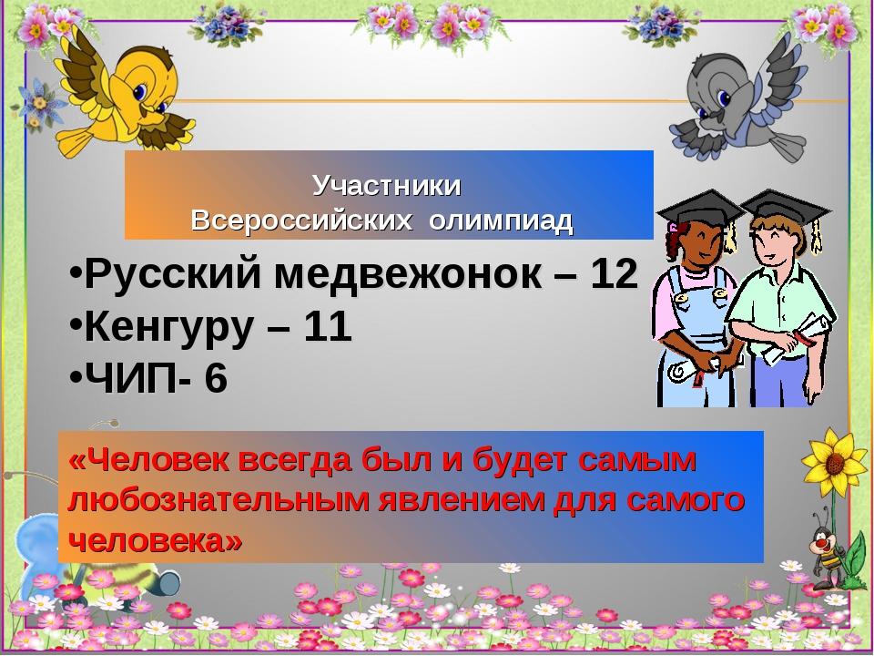 Участники Всероссийских олимпиад «Человек всегда был и будет самым любознате...