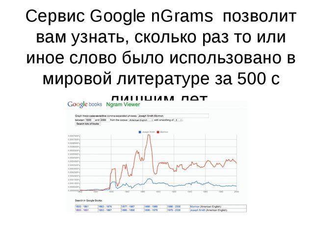 Сервис Google nGrams позволит вам узнать, сколько раз то или иное слово было...