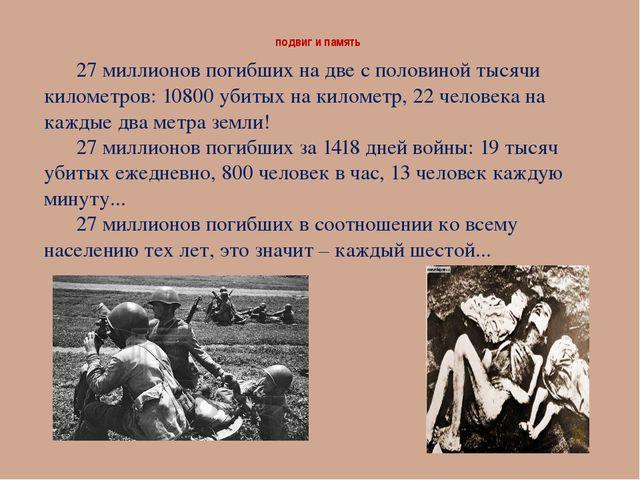подвиг и память 27 миллионов погибших на две с половиной тысячи километров:...