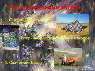 1. Организация свалок. 2. Вторичное использование отходов 3. Сжигание отход.