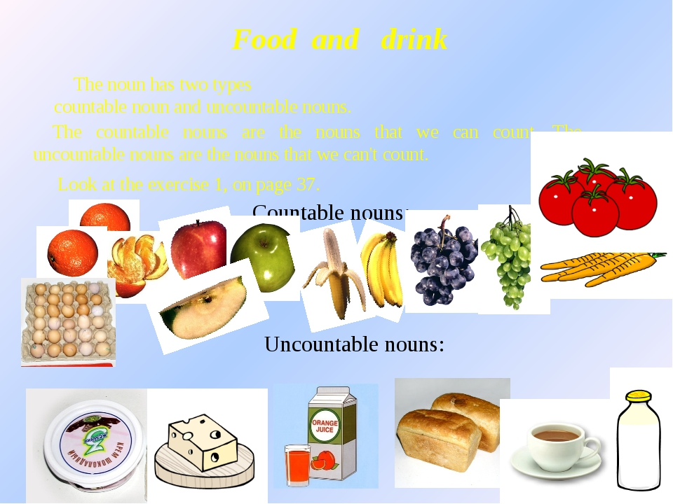 Food and drink The noun has two types countable noun and uncountable nouns. T...