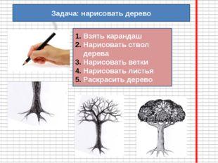 Задача: нарисовать дерево Взять карандаш Нарисовать ствол дерева Нарисовать в