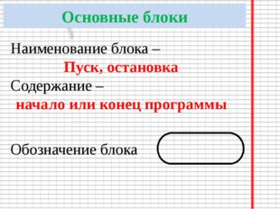 Основные блоки Наименование блока – Пуск, остановка Содержание – начало или к