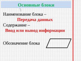 Основные блоки Наименование блока – Передача данных Содержание – Ввод или выв