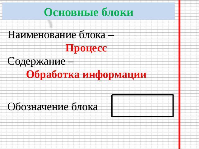 Основные блоки Наименование блока – Процесс Содержание – Обработка информации...