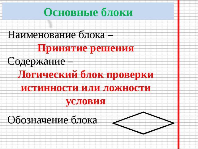 Основные блоки Наименование блока – Принятие решения Содержание – Логический...