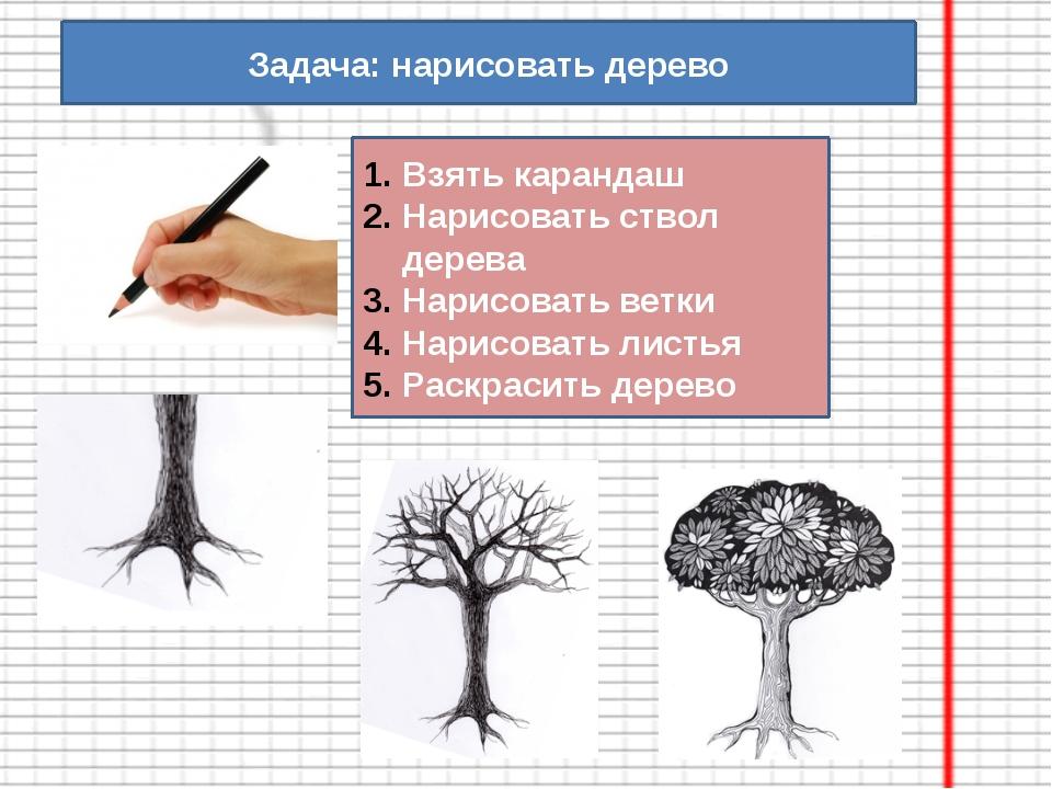 Задача: нарисовать дерево Взять карандаш Нарисовать ствол дерева Нарисовать в...