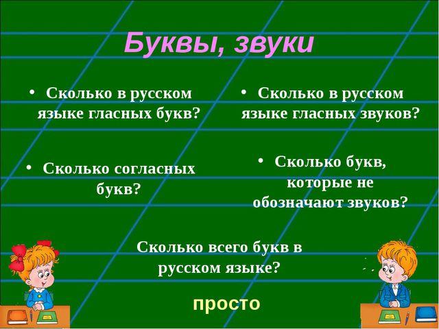 Буквы, звуки Сколько в русском языке гласных букв? Сколько в русском языке гл...