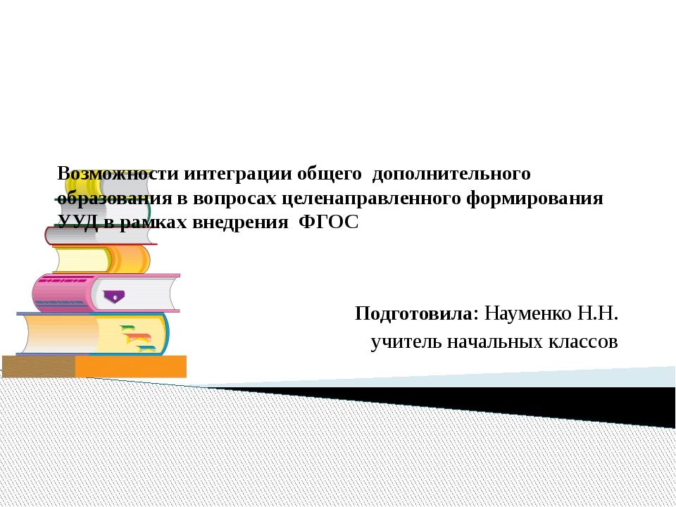Возможности интеграции общего дополнительного образования в вопросах целенапр...