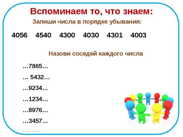 Вспоминаем то, что знаем: Запиши числа в порядке убывания: 4056 4540 4300 403...
